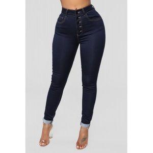 Yvette Exposed Button Ankle Jeans - Dark Denim